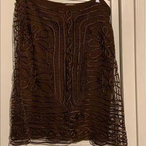 Studio M -brown silk & polyester A-line skirt